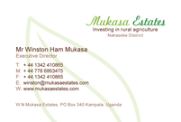 Mukasa Estates business card, reverse side